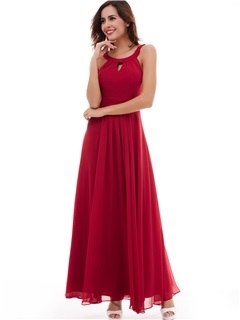 Simple A-Line Scoop Sleeveless Ankle-Length Evening Dress