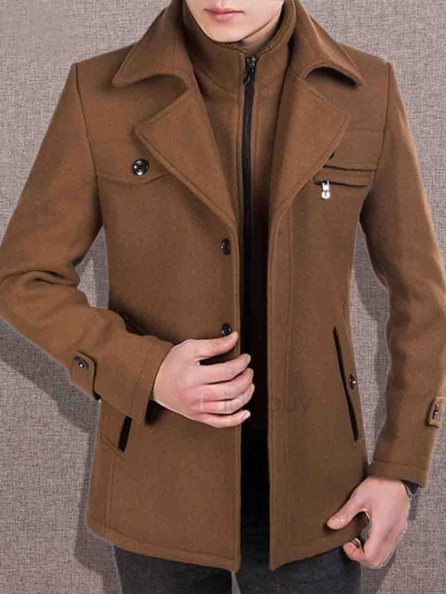 Woolen Layered Notched Collar Men's Dress Coat
