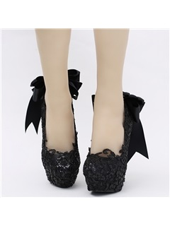 Black Lace Appliques Bowtie Platform High Heel Wedding Shoes