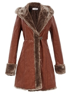 Stylish Slim Faux Fur Collar Mid-Length Overcoat