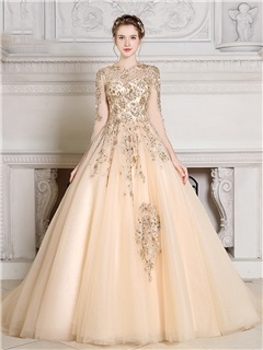 Gorgeous Jewel Ball Gown Long Sleeves Appliques Beading Pearls Quinceanera Dress