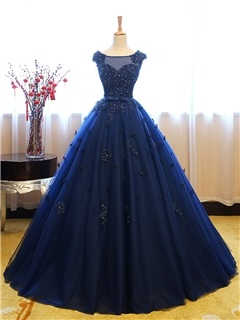 Elegant Bateau Ball Gown Cap Sleeves Appliques Beaded Lace Sequins Quinceanera Dress