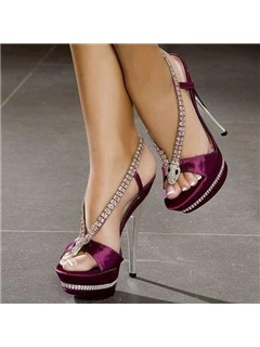 PU Slip-On High Heel Rhinestone Women's Sandals