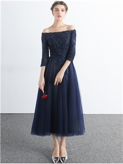 Fancy 3/4 Length Sleeves A-Line Off-the-Shoulder Appliques Beading Tea-Length Evening Dress