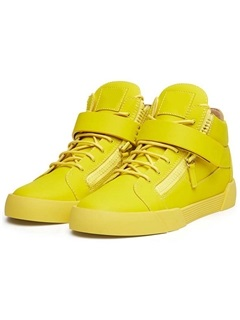 PU Yellow Round Toe High-Cut Upper Women's Sneakers