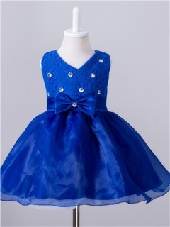 Stylish V-Neck Bow-Detail Girl's Dress