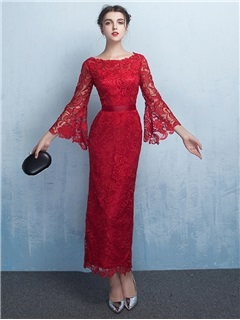 Unique Sheath Bateau 3/4 Length Sleeves Lace Evening Dress
