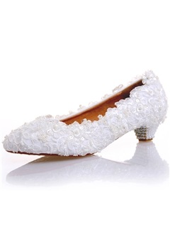 Comfy PU Slip-On Beads Awl Heel Wedding Shoes