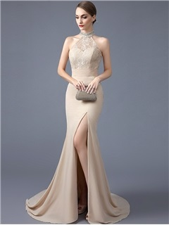 Fancy High Neck Mermaid Beading Crystal Lace Court Train Evening Dress