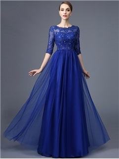 Attractive A-Line Round Neck Half Sleeves Appliques Beaded lace Long Evening Dress