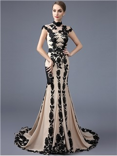 Fancy High Neck Trumpet Cap Sleeves Appliques Court Train Evening Dress