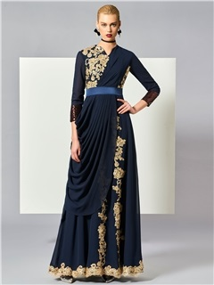 Simple A-Line Jewel Neck Appliques Draped Pleats Muslim Evening Dress