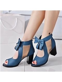 PU Zipper Hollow Block Heel Women's Sandals