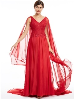 V Neck Zipper-Up Lace Appliques Long Evening Dress