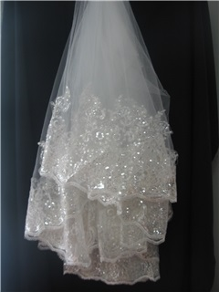 Glamorous Lace Applique Edge Fingertip Wedding Bridal Veils with