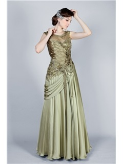 Vintage Scoop Neckline Tassel Beading A-Line Floor-Length Evening Dress