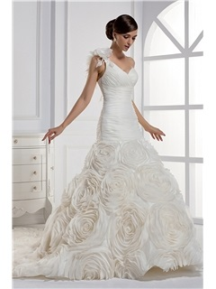 Dramatic Mermaid One Shoulder Floor Length Chapel Train Wedding Dress & quality Wedding Dresses