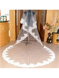 Popular Cathedral Length White Tulle Wedding Veil