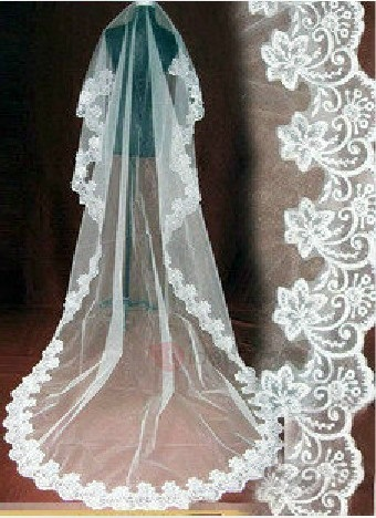 Delicate Cathedral Length White Tulle Wedding Veil