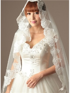 Amazing Cathedral Length White Tulle Wedding Veil
