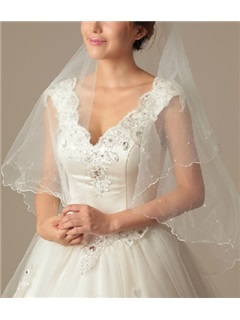 Charming Elbow Wedding Bride Veil With Lace Applique Edge