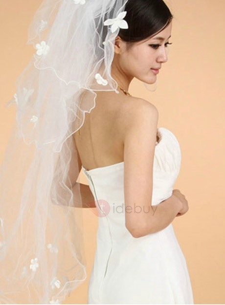 Elbow Wedding Veil With Lace Applique Edge