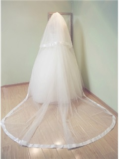 Cathedral Length White Tull Wedding Veil