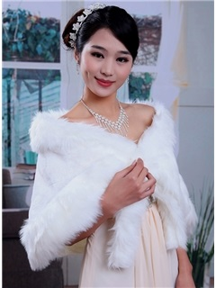 Fabulous Warm Faux Fur Wedding Shawl