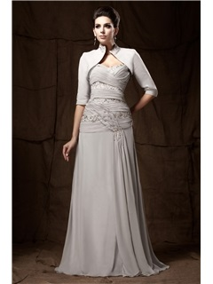 A Line Lace Pleats Sweetheart Neckline Floor Length Mother Of The Bride Dress With Jacket Shawl