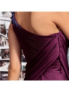 Noble One-Shoulder Beading Draped Floor-Length Evening Dress