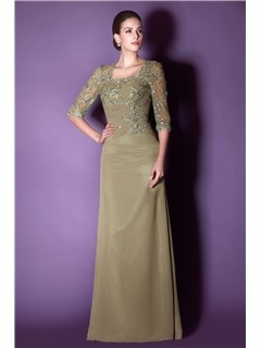 Vintage Appliques Sequins Sheath/Column Floor-Length Half Sleeves Taline's Mother/Evening Dress
