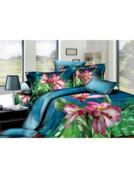 Likesome Blue Printed 4 Pieces Cotton Comforter Sets With Pink Flowers