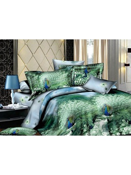 Super Enchanting Green Printed 4 Piece Cotton Comforter Sets With Peafowl