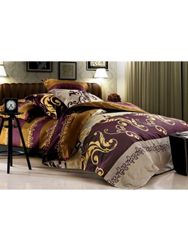 Unique Exotic Pattern 4 Piece Cotton Bedding Sets With Printing