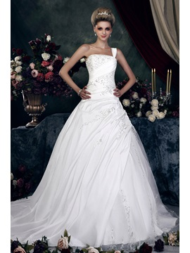 Gorgeous One Shoulder A Line Princess Sweetheart Chapel Appliques Dashas Wedding Dress
