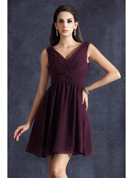 Elegant Ruched A Line Short Mini Empire Waist V Neck Talines Bridesmaid Dress