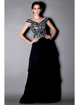 Marvelous Beaded Sequins Tiered A Line Off The Shoulder Floor Length Talines Mother Of The Bride Dress