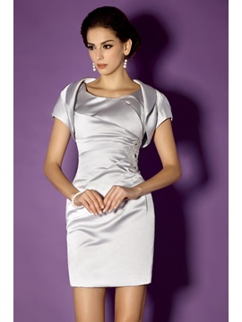 Charming Sheath Column Scoop Neckline Knee Length Talines Mother Of The Bride Formal Dress With Jacket Shawl