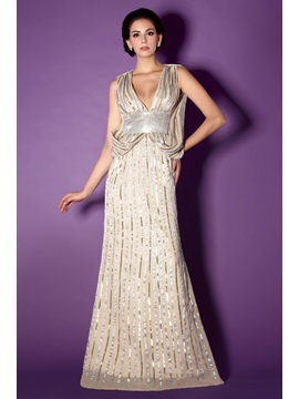 Sequins Trumpet Deep V Neck Long Talines Mother Of The Bride Dress