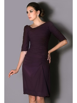 Gorgeous Sheath Pleats Half Sleeves Knee Length Talines Mother Of The Bride Dress