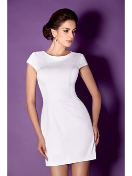 Consice Column Sheath Scoop Neckline Short Sleeves Short Talines Formal Dress