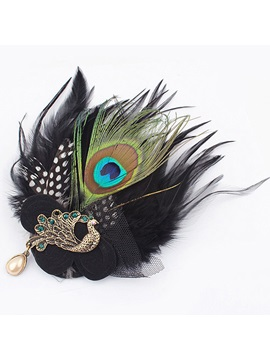 Luxurious Alloy With Pearls Peacock Feather Corsage Hair Flower