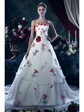Affordable A Line Strapless Chapel Train Dashas Wedding Dress