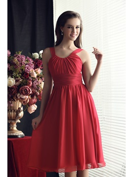 Cheap Scoop Neckline A Line Knee Length Straps Sandras Bridesmaids Dress