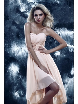 Chic A Line Sweetheart Asymmetry Ruched Dashas Homecoming Dress