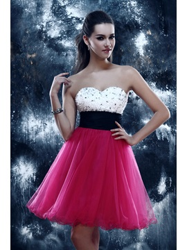 Gorgeous A Line Sweetheart Short Length Empire Beading Sandras Homecoming Dress