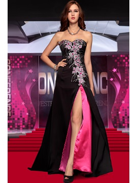 Exquisite Sweetheart Floor Length Appliques Split Front Evening Dress