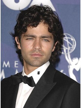 Enchanting Sensual Specially Designed Adrian Grenier Hairstyle Short Wavy Full Lace Wig Human Hair About 8 Inches