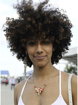 Stylish African American Hairstyle Shaggy Medium Curly Mixed Color Wig 100 Human Hair 12inches