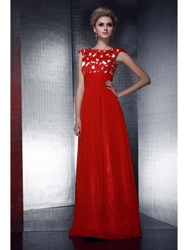 Graceful Empire Waistline Appliques Beading A Line Floor Length Dashas Evening Dress